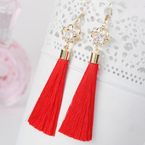 Fashion Jewelry  Tassel  Crystal Alloy Dangle Earrings Long  Earrings For Women