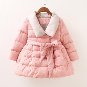 Girls Solid Color Collared Winter Coat - DealsBlast.com