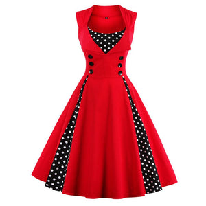 Women 5XL New 50s 60s Retro Vintage Dress Polka Dot Patchwork  Sleeveless Spring Summer Red Dress Rockabilly Swing Party Dress - DealsBlast.com