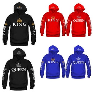 King Queen printed Sweatshirt Men Women Hoodies - Deals Blast