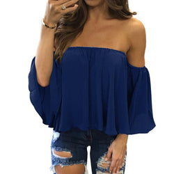 Women'S Chiffon Blouse Half Sleeve Slash Neck Soild Shirt Sexy Off Shoulder Blouses For Party Ladies Tops Clubwear - Deals Blast