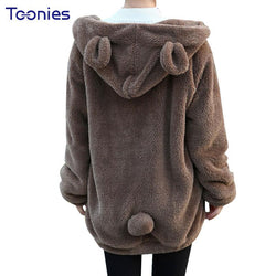 Plush Women Winter Oversized Thick Hoodie With Bear Ears Pockets Zip-up