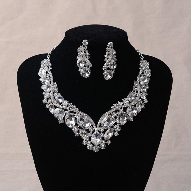 Women's Fashion Korean European Style Wedding Jewelry Earrings Geometric Crystal Necklace Set for Brides Bridal Jewelry Sets - DealsBlast.com