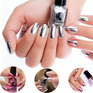 Women's Fashion New Metallic Mirror Nail Polish Sexy Color Stainless Steel Silver Mirror Silver Nail Polish Nails Art Tools - Deals Blast
