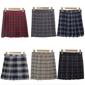 XS-3XL Women Fashion Summer high waist pleated skirt  Wind plaid skirt