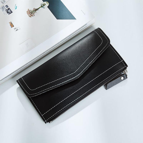 New fashion simple solid zipper long women standard wallets  leather coin purses card package