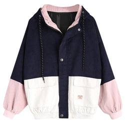 Baseball Jacket College Women Coats Block Hooded - DealsBlast.com
