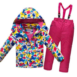 Winter Children Boys Clothes Set Thick Waterproof Windproof Jacket Coat Overalls Girls Ski Suit