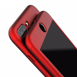 Luxury 360 Degree Full Protection Case For iPhone 7 7 Plus iPhone 6 6S Plus 5 5S SE Hard PC Coverage Cover + Clear Glass Film - DealsBlast.com