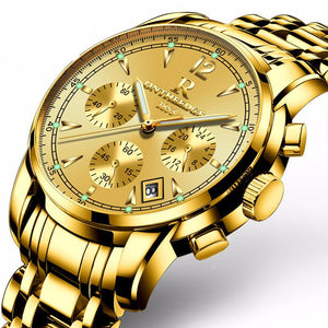 Mens luxury gold wristwatches male brand watches quartz man clocks waterproof stainless steel fashion Business luminous calendar - Deals Blast