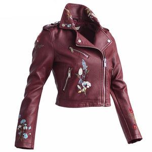 Women Embroidery Faux Leather Coat Zipper Jacket Long Sleeve - DealsBlast.com