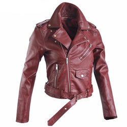 Autumn Street Women's Short Washed PU Leather Jacket Zipper - DealsBlast.com