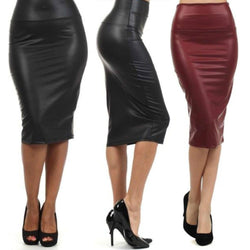 Plus size high-waist faux leather pencil skirt black skirt 12 colors XS/S/M/L/XL - DealsBlast.com