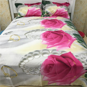 gorgeous 3d big rose print 400TC cotton queen size bedding set  of duvet cover bed sheet pillow cases 4pcs kit - Deals Blast