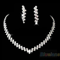New Fashion Bridal Wedding Prom Women Jewelry Crystal Rhinestone Diamante Necklace & Earring Set - DealsBlast.com