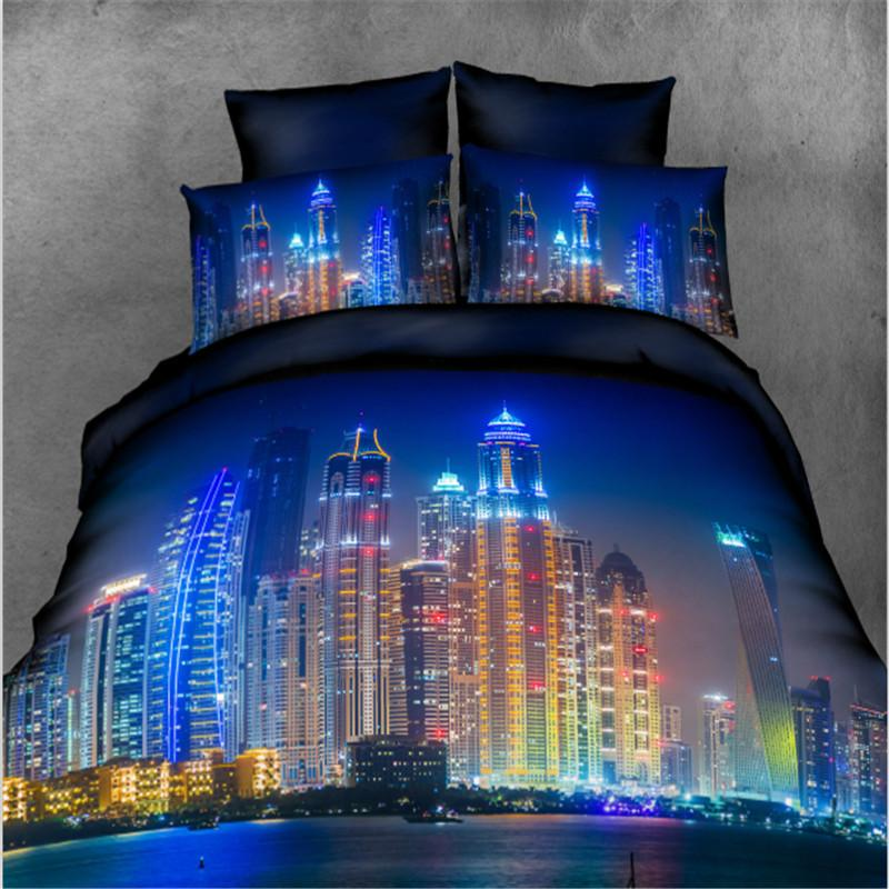 4-piece Bedding Set 3D Print Night City High-rise Buildings Pattern Duvet Cover Set Flat Sheet and Pillowcase Bedlinen - DealsBlast.com