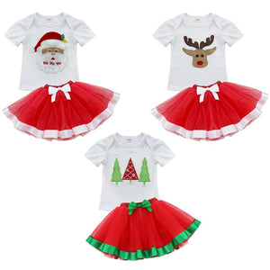 2Pcs Baby Girls Kids Christmas T-Shirt With Bowknot Layers Tutu Dress - DealsBlast.com