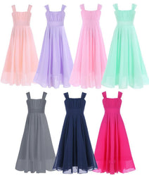 Girls Chiffon Dress Kids Party Wedding Gown Prom Princess - DealsBlast.com