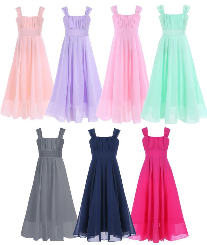 657689149af ... Girls Chiffon Dress Kids Party Wedding Gown Prom Princess -  DealsBlast.com ...