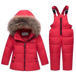 Fur hooded warm kids boy girl snow suit children snowsuit