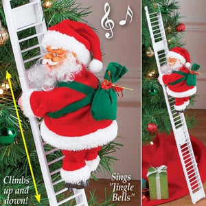 Christmas Santa Claus Electric Climb Ladder Hanging Funny Gift