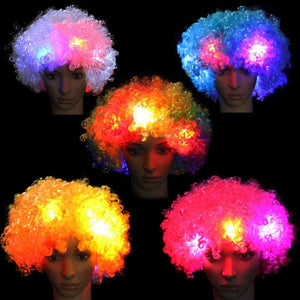 LED Lights Blinking Curly Hair Wig Explosion of Head Halloween Party Carnival Wig for Kids Adult