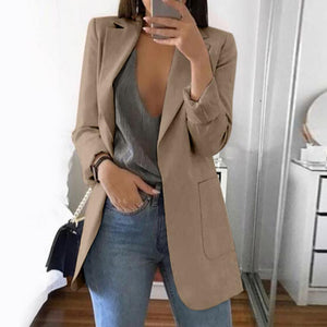Women Casual Jacket Autumn Long Sleeve Turn-Down Collar Suit Coat 15 Color Slim Formal Blazer Plus Size 5XL Cardigan