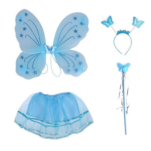 Kids Party Costumes Headband Wing Wand Tutu Skirt Set Feather Angle Girls Fairy Dress Outfit (Angel/Bat/Butterfly)