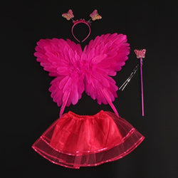 New Colorful Kids Girl Butterfly Feather Wing Fairy Angel Wings Skirt Cosplay Magic Wands Headband Props Birthday Party