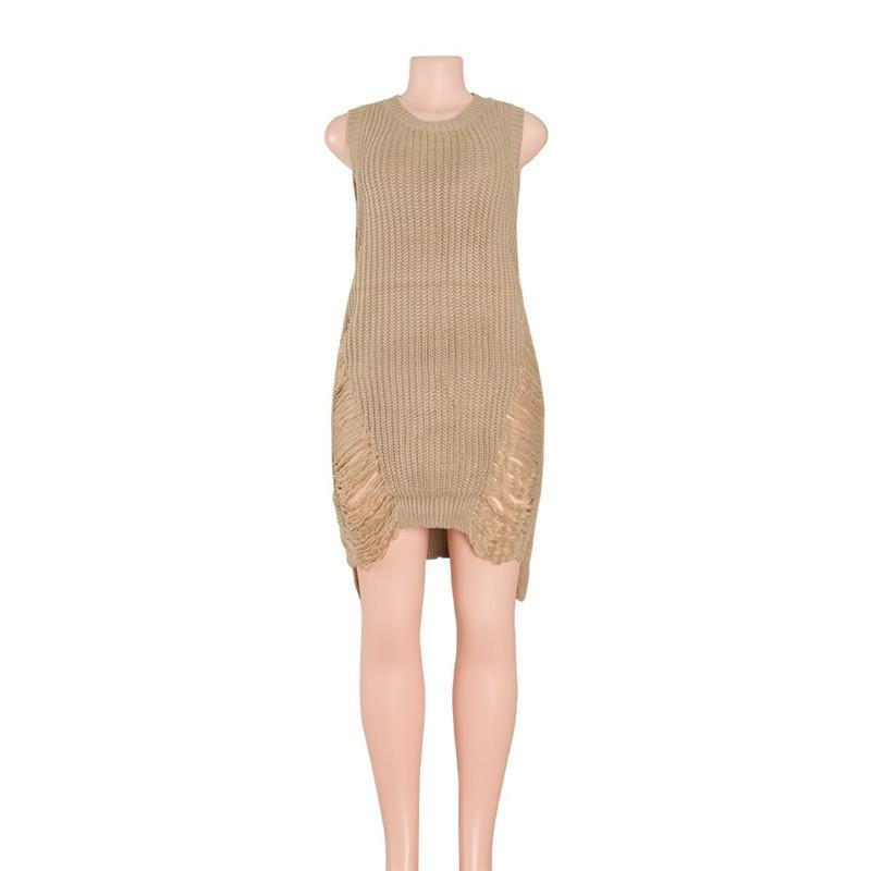 Irregular Ripped Sweater  Sleeveless Dress - DealsBlast.com