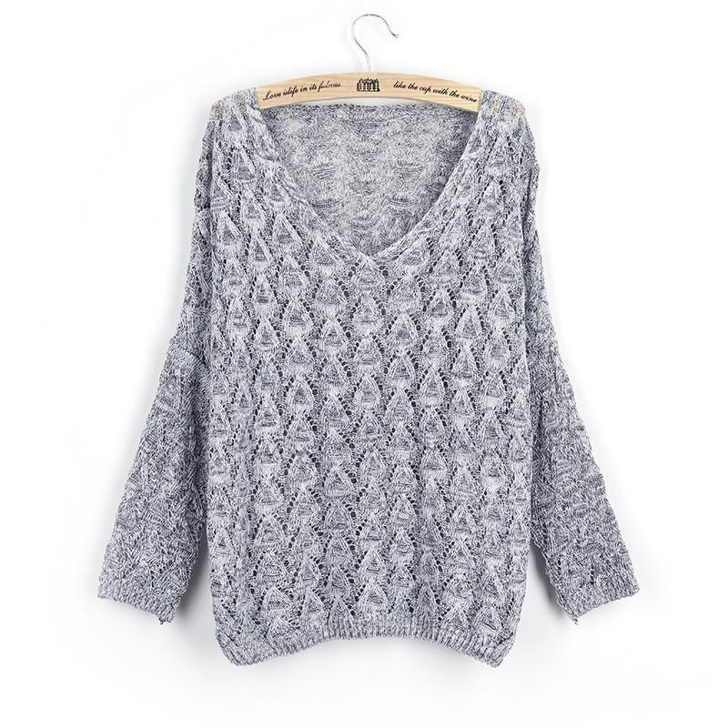 Women Loose Knite V-neck Sweater - DealsBlast.com