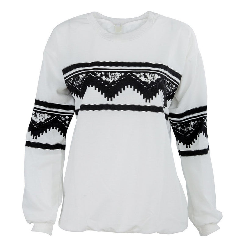 Fashion Europe Womens Ethnic Print Blouse Top Sweat Sweater - DealsBlast.com