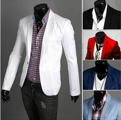 Men's Blazer Jacket Slim Solid Single Button - DealsBlast.com