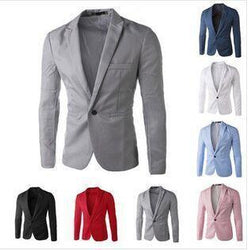 Men Solid Color Casual One Button Blazer Suits Jacket - DealsBlast.com