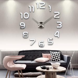 New real living room clocks 3d mirror sticke Big wall clock home decoration acrylic diy watch stickers