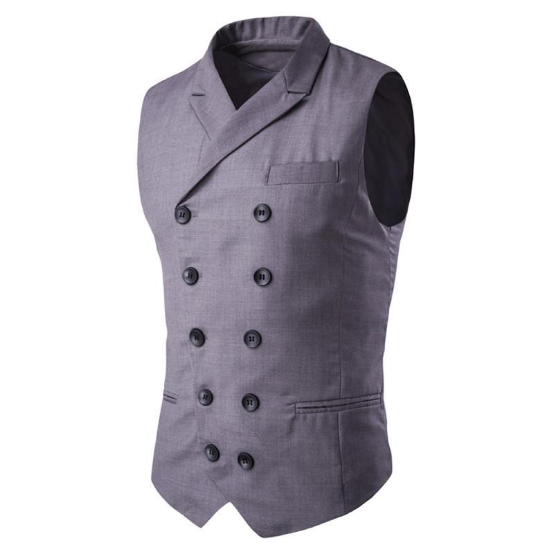 Men's Vest Double Button Sleeveless Formal Vest Waistcoat