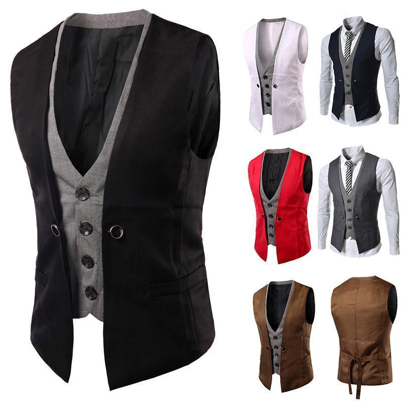 Men's Casual Suit Sleeveless Fake 2 Pieces Blazers
