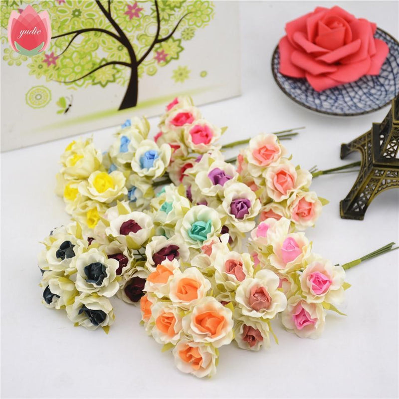 6pcs Silk 2Color Rose Artificial Flower - DealsBlast.com