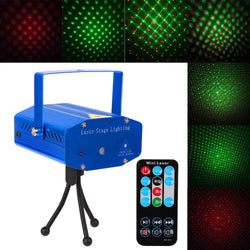 Mini DJ Club Disco Projector Stage Laser Light Auto strobe, Sound/Voice-Activated Green Red Voice Control Function with Remote Control - DealsBlast.com