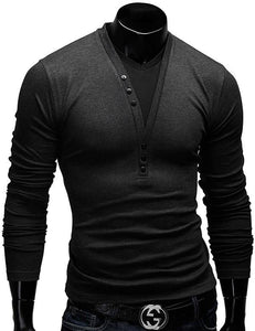 Men's T Shirts Long Sleeve Spring Autumn New Fashion Button Design Casual Slim Fit V-neck Tees  Men's Clothing 5 Colors - DealsBlast.com