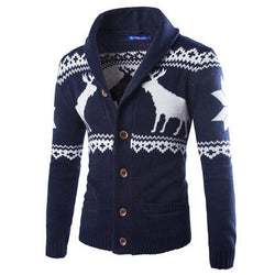 New Fashion Winter Christmas Sweaters Men Cardigan Single Breasted Casual Slim Mens Sweaters With Deer Pattern Knitwear - DealsBlast.com