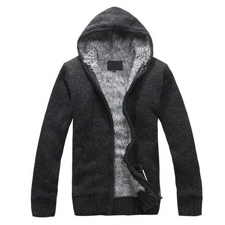 5Colors New Autunm Winter Fur Lining Thicken Hoodies Men Casual Zipper Warm Knitted Jacket mens winter Jumper - DealsBlast.com