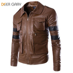 New Men Brand Fashion England Style Leather Jacket Men Coat Multi-pocket Design Men Zipper Motorcycle Jacket Solid Coat - DealsBlast.com