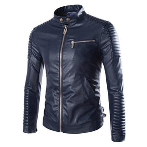 European Style Fashion Winter Zipper Motorcycle Leather Jacket Men Outwear Casual Slim Solid PU Men's Jacket Coat 3 Colors M-XXL - DealsBlast.com