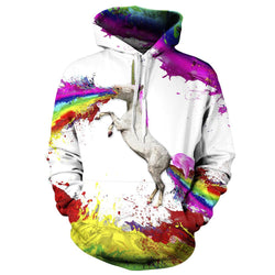 Punk Sweatshirt New Women/Men Hoodies 3d Rainbow Horse Printed Pullovers Casual Long Sleeve Loose Tops Couples Sudaderas - DealsBlast.com