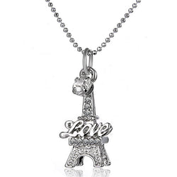 Eiffel Tower Clavicle Necklace engraved with Love Word  Women's Wedding Present Pendants - Deals Blast