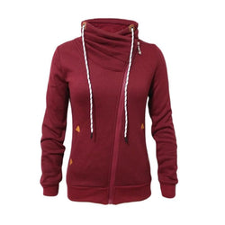 New Autumn Winter Warm Zipper-up Hoodies Women Sweatshirts Fashion Inclined Zipper Coats Turtleneck Women Sudaderas Outwear - Deals Blast