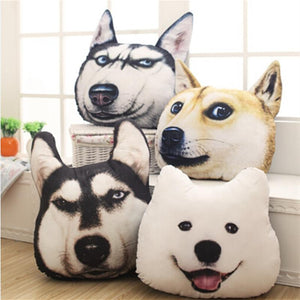 New Hot 3D 38cm*35cm Samoyed Husky Dog Plush Toys Dolls Stuffed Animal Pillow Sofa Car Decorative Creative Birthday Gift - DealsBlast.com