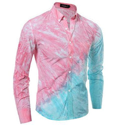 Hawaiian shirt Fashion gradient tie-dye Men Shirt Long sleeve Mens Dress Shirts Slim Fit Casual Chemise Homme