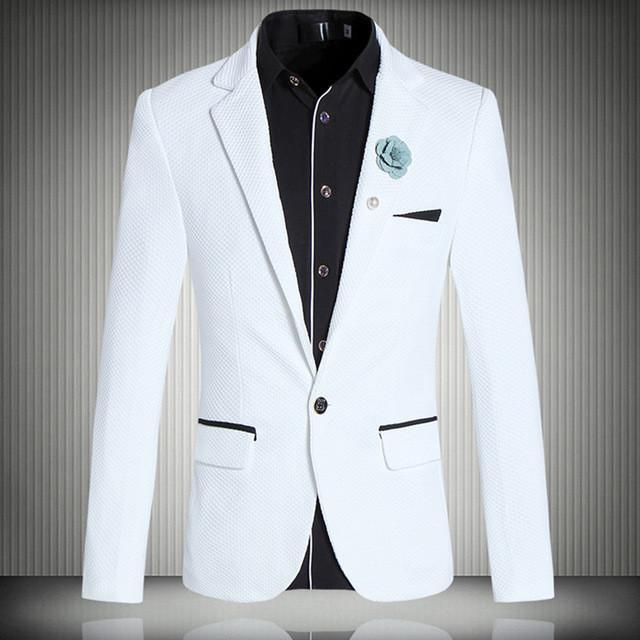 White One Button Slim Fit Men Blazers - DealsBlast.com